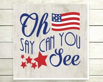 Oh Say Can You See Americana Sign, Patriotic Canvas Sign, 4th of July Decor, Americana Decor, Unique Veteran Gift, Patriotic Art
