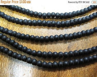 ON SALE Clearance 34 Opaque Matte Jet Black 6mm Cultured Sea Glass Round Beads Last Ones