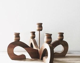 Vintage Wooden Candelabra