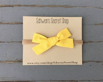 Hand tied bow, yellow fabric bow, baby girl headband, school girl bow, baby headband, nylon headband, newborn headband, infant headband