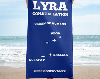 Lyra Star System Beach Towel, Navy Blue Beach Towel, Blue , ConstellationBeach Towel