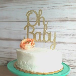Oh baby cake topper, baby shower cake topper, baby shower decorations, gold glitter baby shower, glitter cake topper, glitter baby shower