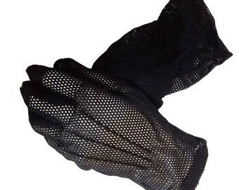 SALE Vintage 50s Black Mesh Gloves black gloves designer gloves accessories