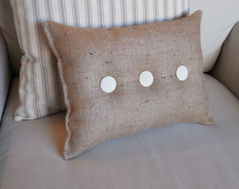 Burlap Pillow with ivory organic cotton duck buttons