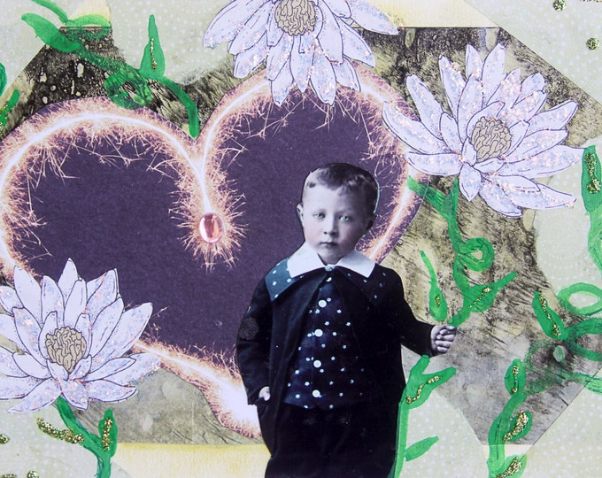 Handmade Altered Art Folded Greeting Card, Size 5x7, 3D, Blank Inside, Heart, Vintage Boy Holding Flower