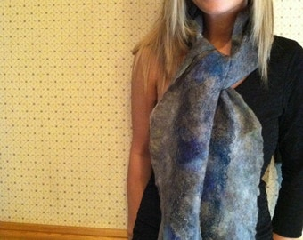 No.11 Nuno wet felted scarf - Blue gray cobweb with silk