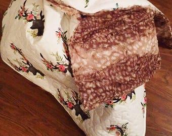 Woodland quilt\ deer blanket\ woodland nursery\ baby girl quilt \Floral deer\crib bedding