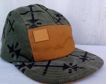 Army Green Block Printed Handmade 5 Panel Camp Hat with Black Hmong Inspired Design - Baseball Cap, Men's Hat