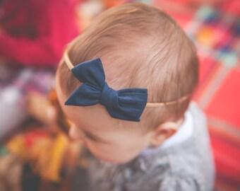 Navy Blue Mini Schoolgirl Bow Headband, Baby Bow, Toddler Bow, Sailor Bow, Bow Hair Clip