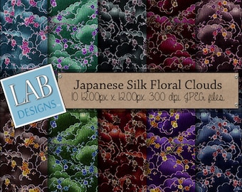 Japanese Silk Floral Clouds Digital Paper Asian Cherry Blossom Background Downloadable Scrapbooking or Origami Papers for Personal Use.