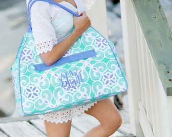 Monogram Tote ~ Monogram Tile Tote ~ Monogram Tote Bag ~ Preppy Mint and Blue Beach tote ~ Monogram Beach Bag