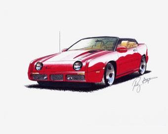 Red Custom Avanti Convertible Print from original drawing