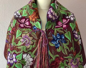 """Chiapas embroidered caplet shawl wrap highland Mayas florals copper green pink boho accessory Frida Kahlo Style 20 1/2""""W x 47"""" L Style '18#B"""