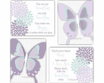Butterfly Art Print You Are My Sunshine Wall Art Purple Nursery Art Floral Print Butterfly Wall Decor Butterfly Nursery Baby Shower BF2636