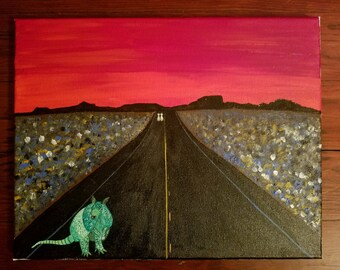Armadillo abstract Texas scenery painting original