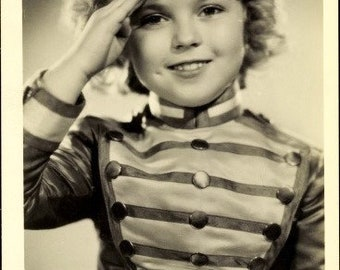 """c.1936 Shirley Temple, """"Poor Little Rich Girl"""" Portrait in Uniform, Salute; Ross Verlag A 1081/2; Unused; Crisp, Clean, MINT Condition."""