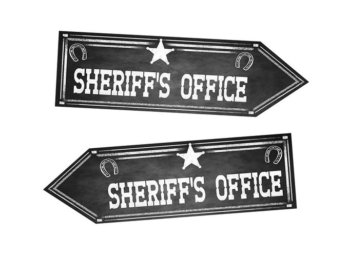 Western Sheriff's Office DIRECTIONAL signs - Chalkboard Style - PRINTABLE file - diy Western Wedding or event signage