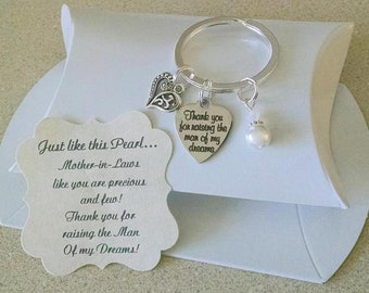 Mother in Law Gift, Mothers Day Mother In Law, Mother Of The Groom Gift From Bride, Pearl KEYCHAIN, Charm is Size of a Nickel