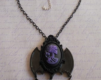 Gothic Lolita lady skull cameo in purple with bat wings necklace and beads
