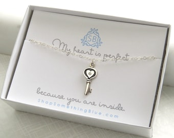 Genuine Diamond Key Necklace • Gift For Mom • Heart Shaped Key With Diamond Accent • Love Gift • Key To My Heart • Mother's Day Gift