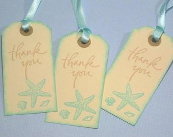 10 Wedding Tags for Favors - Cream Aqua Starfish Seashell Tropical Wedding Favor Tags - Beach - Destination Wedding - Bridal Shower Favors