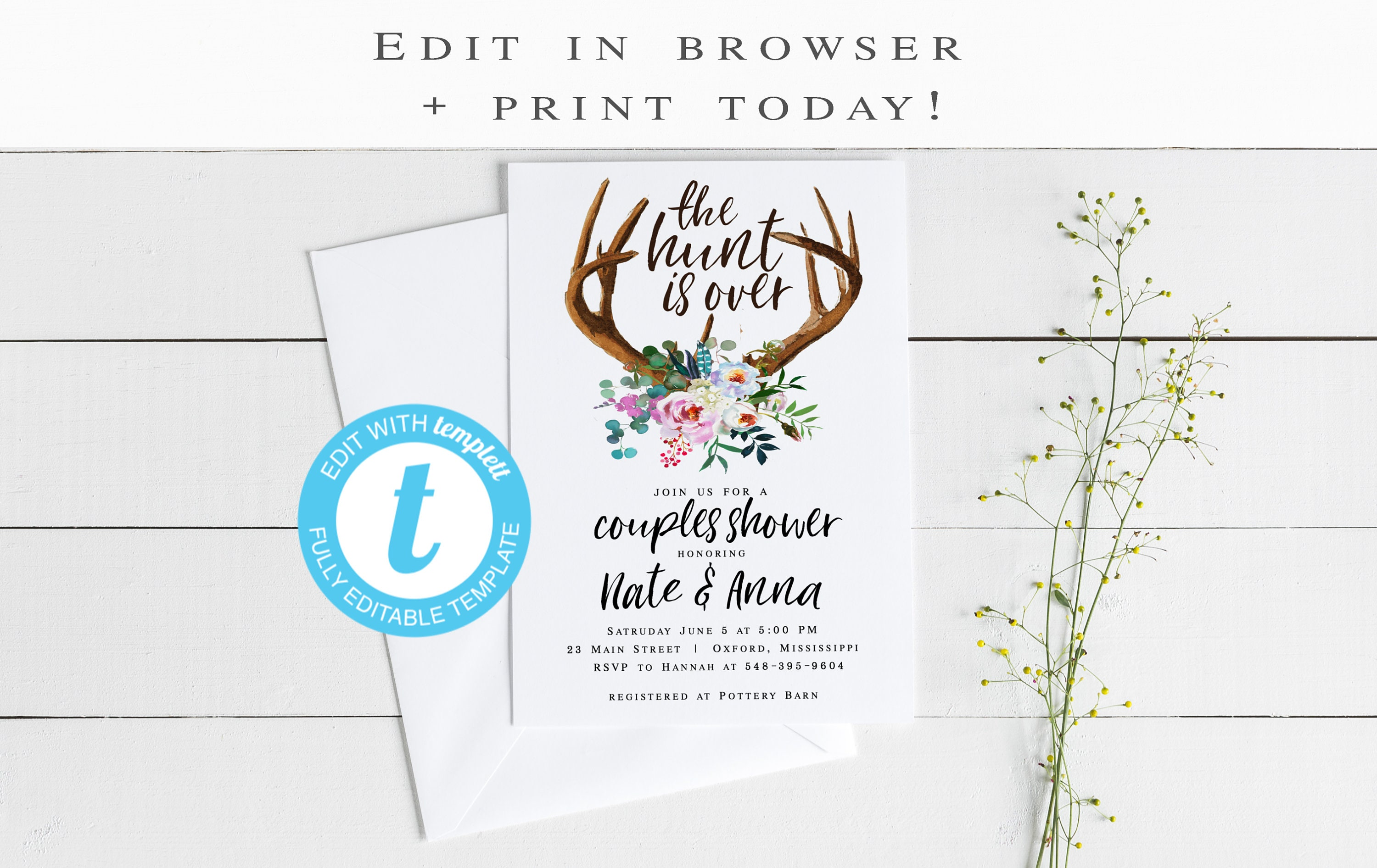 The Hunt is Over Bridal Shower Invitation Engagement