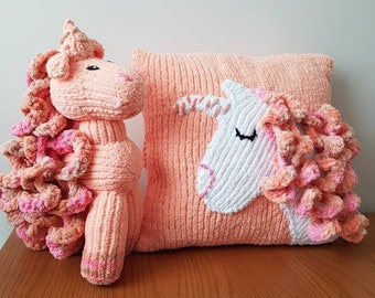 Unicorn and cushion hand knitted