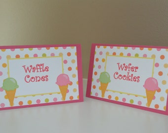 Ice CreamParty Table Tent Food Label Place Cards  -Ice Cream Food Tent - Ice Cream Party - Ice Cream Birthday - Set of 6 -