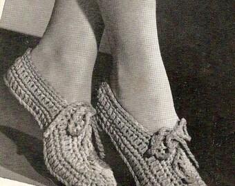 Cute Slippers Vintage Crochet Pattern 185