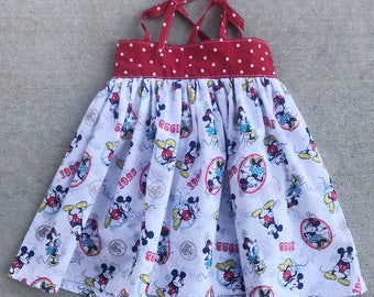 Mickey Mouse and Minnie Mouse sundress, Mickey dress, Vintage Mickey, Girls or Toddler dress, Tie Straps, Lauren dress
