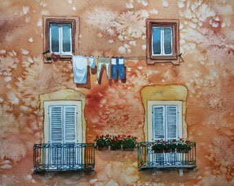 Original Watercolor Painting, Original Watercolor Artwork, Sicily Watercolor, Italy Watercolor, 30x25 cm