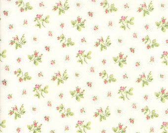 END OF BOLT 1 yard - Caroline Fabric - White Rosebuds Fabric - Brenda Riddle - Moda Fabric - Floral Fabric - Flower Fabric