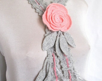 Rose Lariat Scarf ,Crocheted scarf rose,Women's Neck Wear,Lariat Scarf Flower ,Infinity chain scarf,Crocheted brooch,Fiber Art Wear