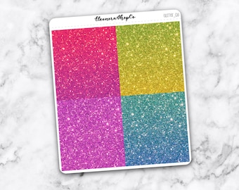 GLITTER HEADER stickers, 28 planner stickers for Erin Condren — (glitter_08)