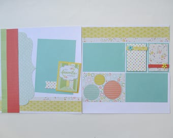 Spring Premade or DIY Kit,12x12 Scrapbook Layout,  Scrapbook Page Kit,