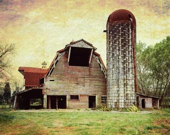 Barn Photography, Rustic Home Decor, Farmhouse Decor, Farm Art, Barn Landscape, Faded Red Barn, Canvas Wrap or Print