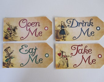 Eat Me Tags ~ Drink Me Tags ~ Take Me Tags ~ Open Me Tags ~ (Alice and Wonderland) Inspired