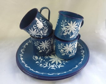 Vintage Rustic Enamel Plate and Cup Set of Eight Pieces