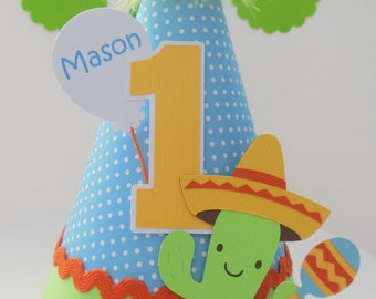 Lil' Blue Pindot Fiesta Time - Cinco de Mayo - Birthday Party Hat - Personalized