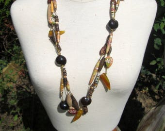 Ethnic necklace ochre collection nature