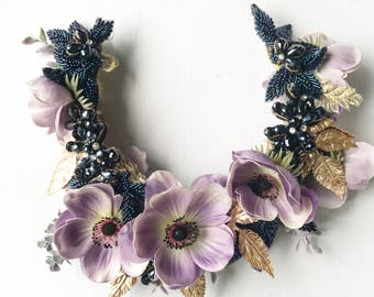 The 'Maliah' Floral Headband / Spring Racing Crown - Lilac Floral Crown with gold embellishments