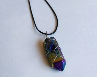 Rainbow aura quartz necklace, silver color wire wrapped, black necklace cord.