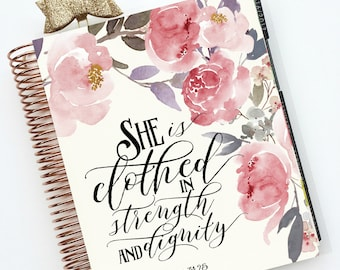 "Planner Cover Set: ""Dignity & Strength""10 Mil Laminated for use with ERIN CONDREN LIFEPLANNER™"