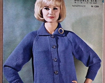 Vintage 1950s 1960s Knitting Pattern Women's Cardigan 50s 60s original pattern Lister No. N 1288 UK - with raglan sleeves and collar