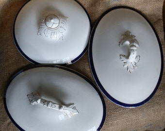 Three English Antique Oval and Round Blue & White Tureen Lids for Display / Upcycling / Repurposing