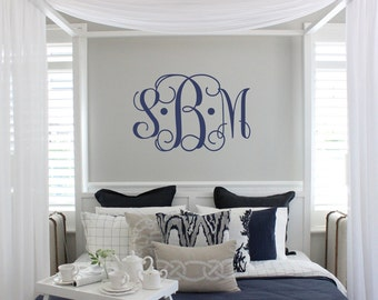 Vine Monogram Decal | Large Monogram Wall Decal | Master Bedroom Wall Decal | Wedding Monogram | Newlywed Monogram Wall Decal