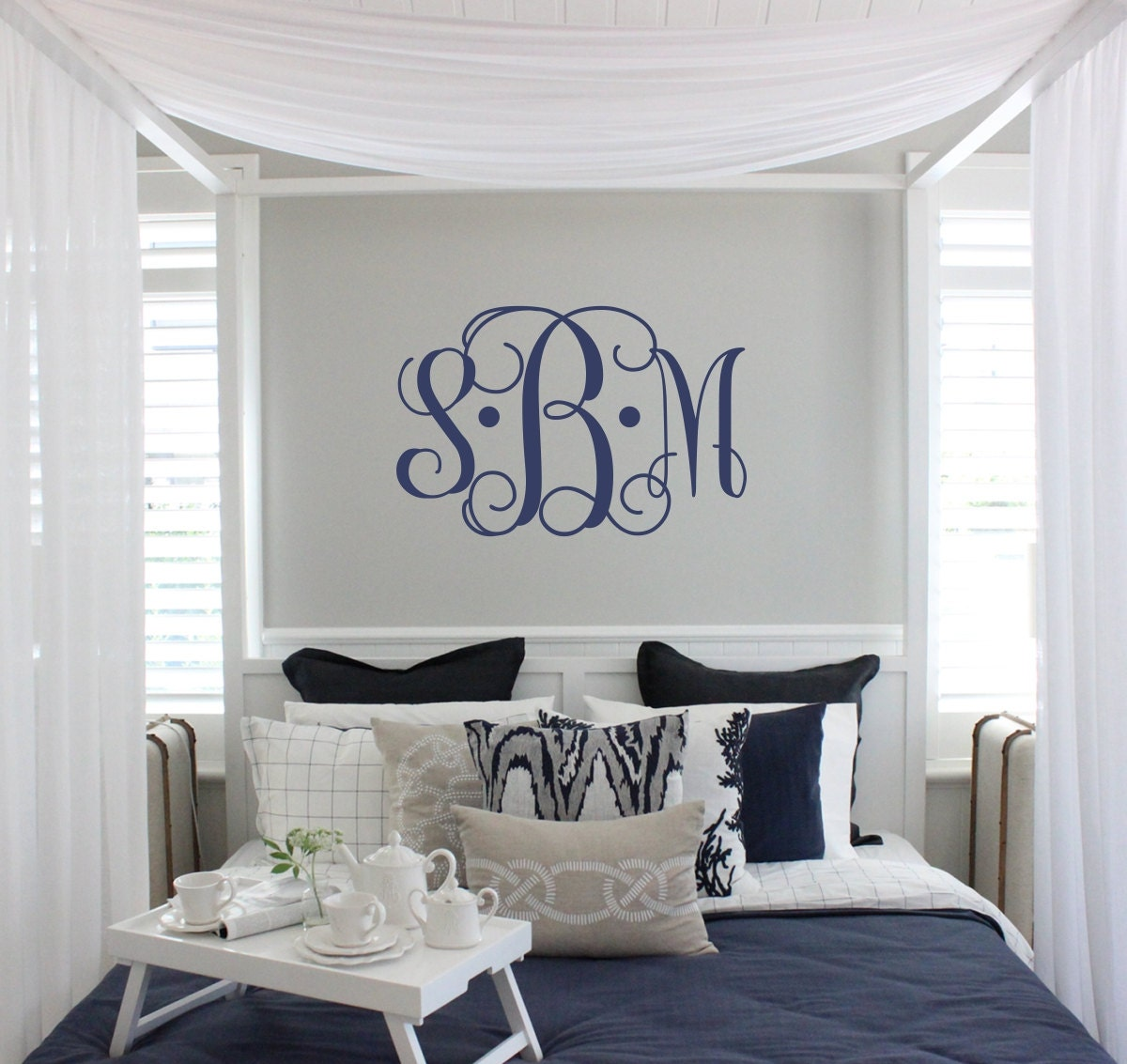Vine Monogram Decal | Large Monogram Wall Decal | Master Bedroom Wall Decal | Wedding Monogram | Newlywed Monogram Wall Decal & Vine Monogram Decal | Large Monogram Wall Decal | Master Bedroom ...
