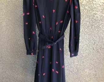 Jonathan Martin Vintage 70's Belted Black Dress with Red Piping and Buttons Size 3/4 Spring Summer Day Dress