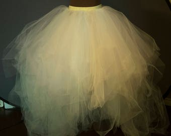 Ivory, White and Pink Tulle skirt