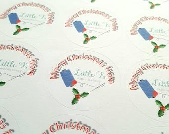 Personalised Christmas Logo Labels, packaging stickers, envelope seal